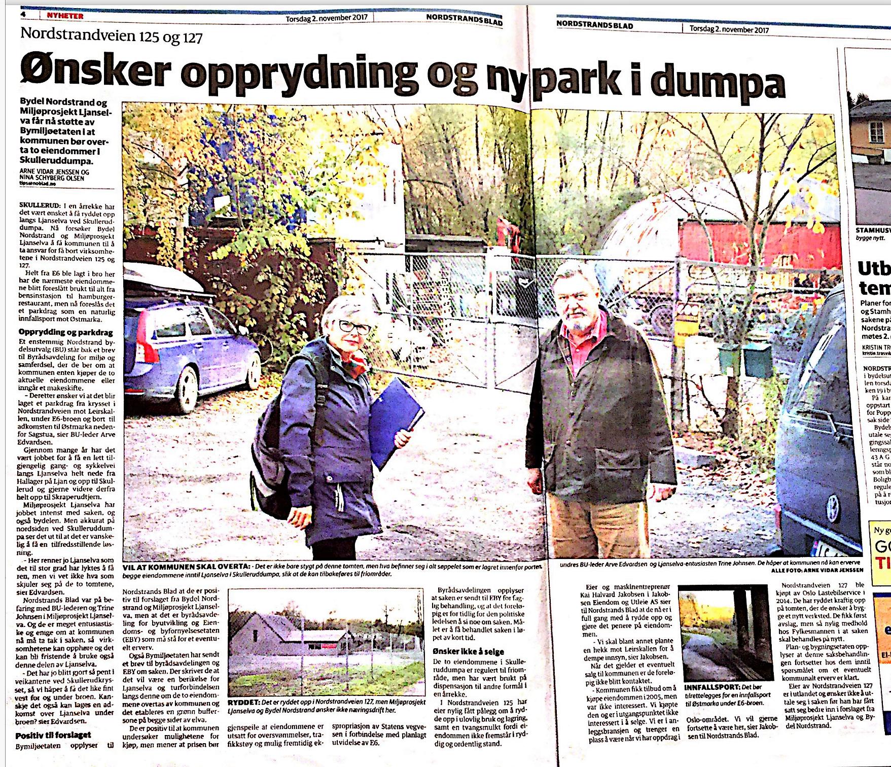 Nordstrands Blad 2.11.2017: Ønsker opprydning og ny park i dumpa