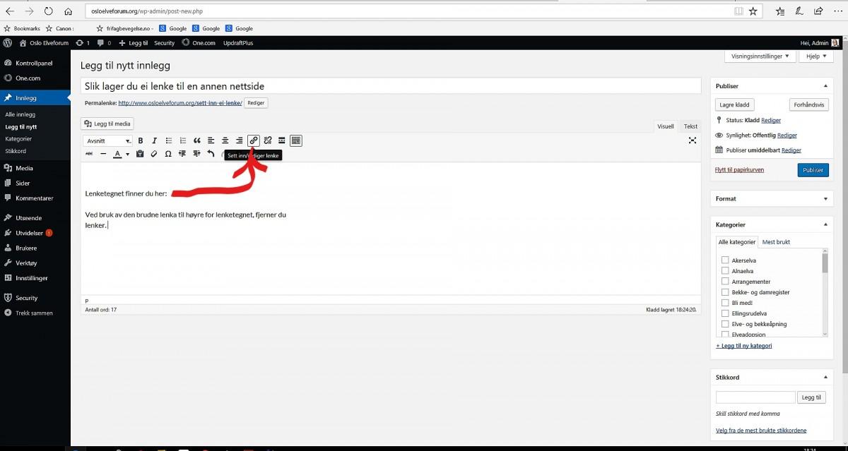 Her lager du lenker i WordPress
