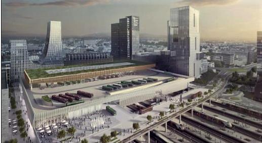 Ruters alternativ 1 for ny bussterminal på Oslo S - uten tilleggsarealer