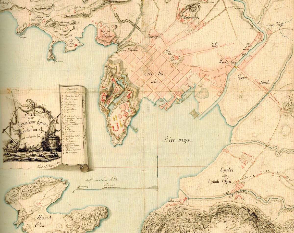 I århundrer rant Tøyenbekken og Hovinbekken ut i Bjørvika, slik som på Wegeners kart fra 1774.