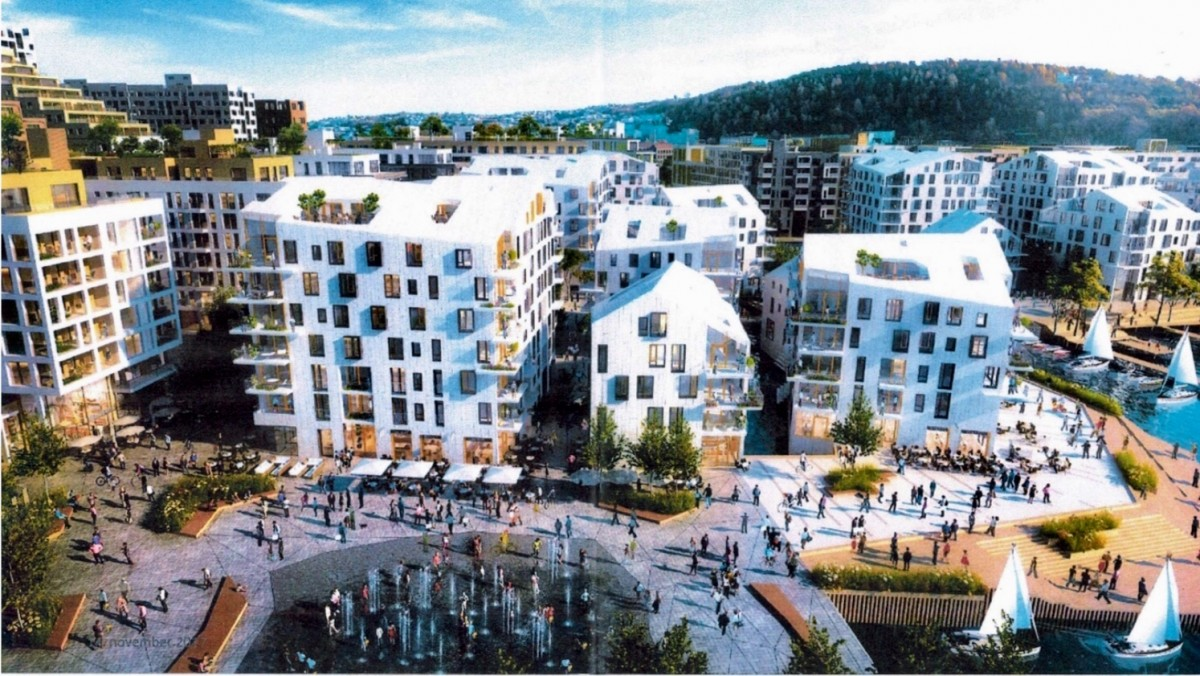 Bjørvika Infrastruktur vil erstatte det ca. 20 x 40 m store vannbassenget med et fonteneanlegg som består av en rekke dyser, jf. denne illustrasjonen.